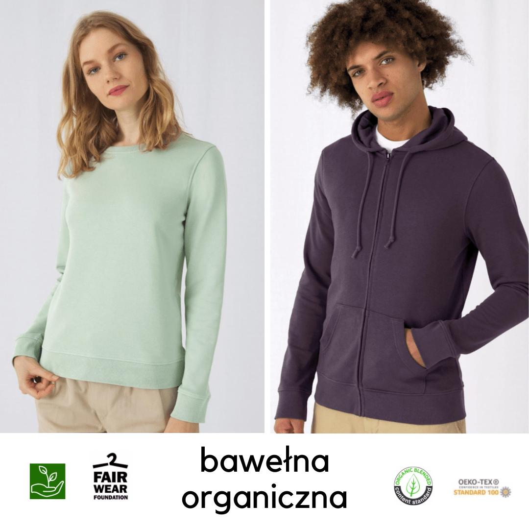bluzy z bawełny organicznej i recyklingowanego poliestru z logo
